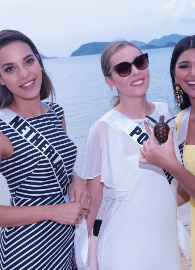 Rahima Dirkse, Miss Netherlands 2018;  Filipa Barroso, Miss Portugal 2018; and Sthefany Gutiérrez, Miss Venezuela 2018; during an excursion to the Royal Thai Navy Sea Turtles Conservation Center in Pattaya, Thailand on December 7th. The Miss Universe contestants are touring, filming, rehearsing and preparing to compete for the Miss Universe crown in Bangkok, Thailand. Tune in to the FOX telecast at 7:00 PM ET live/PT tape-delayed on Sunday, December 16, 2018 from the IMPACT Arena in Bangkok, Thailand to see who will become the next Miss Universe. HO/The Miss Universe Organization