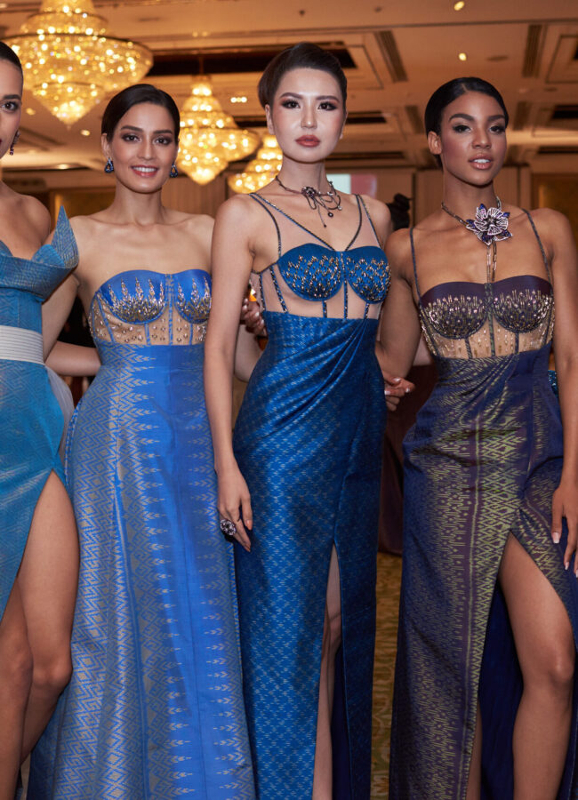 Rahima Dirkse, Miss Netherlands 2018; Manita Devkota, Miss Nepal 2018; Dolgion Delgerjav, Miss Mongolia 2018; Selma Kamanya, Miss Namibia 2018; and Hnin Thway Yu Aung, Miss Myanmar 2018; backstage before the Thai Fashion Show event at the Dusit Thani Bangkok on December 5th. The Miss Universe contestants are touring, filming, rehearsing and preparing to compete for the Miss Universe crown in Bangkok, Thailand. Tune in to the FOX telecast at 7:00 PM ET live/PT tape-delayed on Sunday, December 16, 2018 from the IMPACT Arena in Bangkok, Thailand to see who will become the next Miss Universe. HO/The Miss Universe Organization