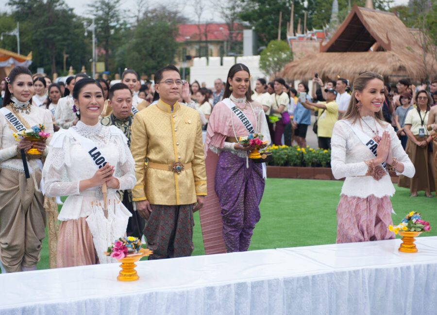 On-anong Homsombath, Miss Laos 2018; Rahima Dirkse, Miss Netherlands 2018; and Maria Belen Alderete Gayoso, Miss Paraguay 2018;  attend the Royal Winter Festival in Bangkok, Thailand on December 8th. The Miss Universe contestants are touring, filming, rehearsing and preparing to compete for the Miss Universe crown in Bangkok, Thailand. Tune in to the FOX telecast at 7:00 PM ET live/PT tape-delayed on Sunday, December 16, 2018 from the IMPACT Arena in Bangkok, Thailand to see who will become the next Miss Universe. HO/The Miss Universe Organization
