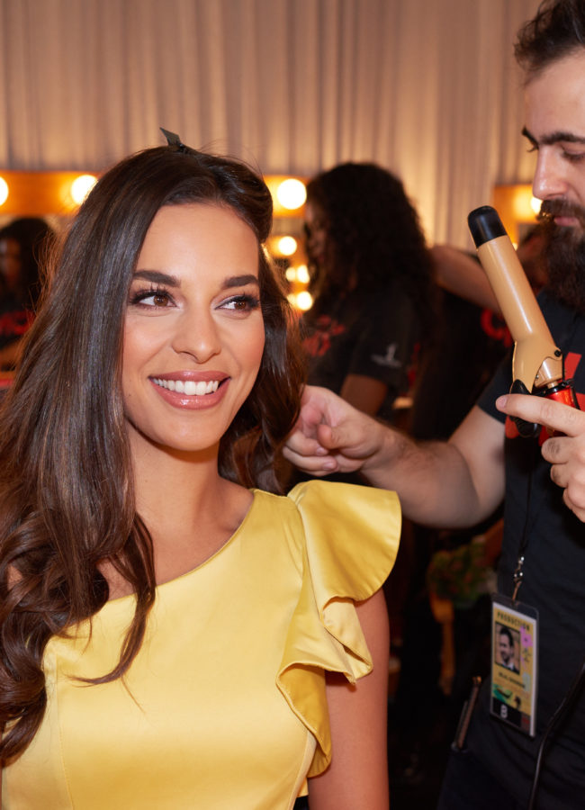 Rahima Dirkse, Miss Netherlands 2018 gets hair done by a stylist from Farouk Systems, the Makers of CHI & Biosilk backstage during the MISS UNIVERSE® Preliminary Competition at IMPACT Arena in Bangkok, Thailand on Thursday, December 13th. The Miss Universe contestants have been touring, filming, rehearsing and preparing to compete for the Miss Universe crown in Bangkok, Thailand. Tune in to the FOX telecast at 7:00 PM ET live/PT tape-delayed on Sunday, December 16, 2018 from the IMPACT Arena in Bangkok, Thailand to see who will become the next Miss Universe. HO/The Miss Universe Organization