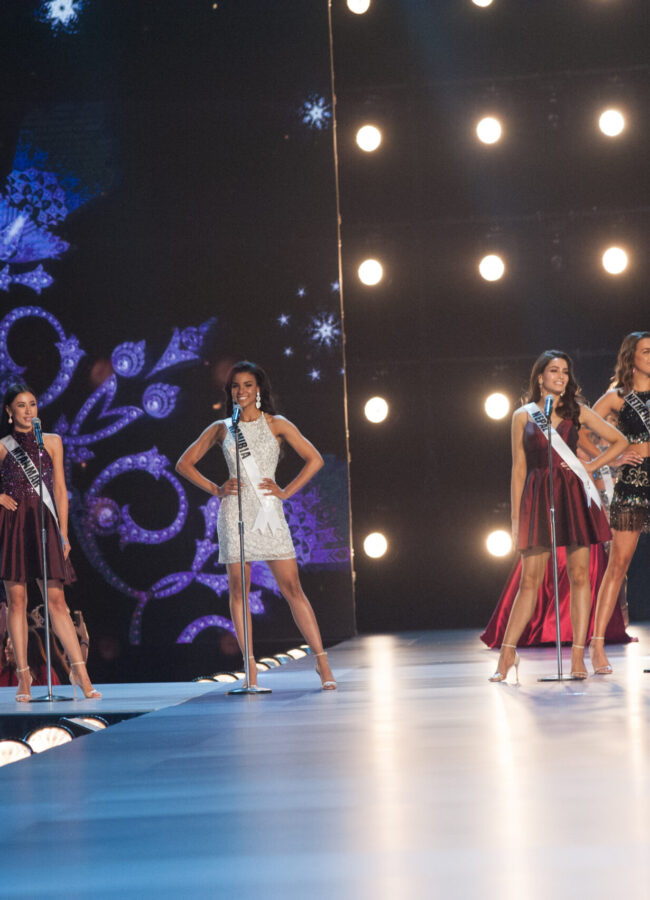 Dolgion Delgerjav, Miss Mongolia 2018; Hnin Thway Yu Aung, Miss Myanmar 2018; Selma Kamanya, Miss Namibia 2018; Manita Devkota, Miss Nepal 2018; Rahima Dirkse, Miss Netherlands 2018; and Estelle Curd, Miss New Zealand 2018; on stage in fashion by Sherri Hill during the opening of the MISS UNIVERSE® Preliminary Competition at IMPACT Arena in Bangkok, Thailand on Thursday, December 13th. The Miss Universe contestants have been touring, filming, rehearsing and preparing to compete for the Miss Universe crown in Bangkok, Thailand. Tune in to the FOX telecast at 7:00 PM ET live/PT tape-delayed on Sunday, December 16, 2018 from the IMPACT Arena in Bangkok, Thailand to see who will become the next Miss Universe. HO/The Miss Universe Organization