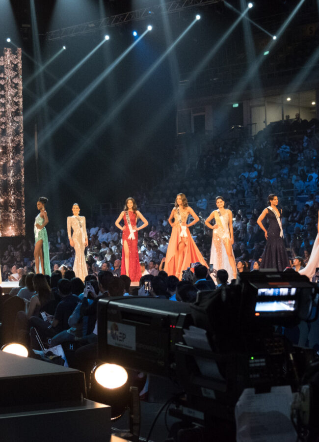 Romina Lozano, Miss Peru 2018; Maria Belen Alderete Gayoso, Miss Paraguay 2018; Rosa Iveth Montezuma, Miss Panama 2018; Susanne Næss Guttorm, Miss Norway 2018; Aramide Lopez, Miss Nigeria 2018; Adriana Paniagua, Miss Nicaragua 2018; Estelle Curd, Miss New Zealand 2018; Rahima Dirkse, Miss Netherlands 2018; Manita Devkota, Miss Nepal 2018; Selma Kamanya, Miss Namibia 2018; Hnin Thway Yu Aung, Miss Myanmar 2018; and Dolgion Delgerjav, Miss Mongolia 2018 compete on stage in their evening gown during the MISS UNIVERSE® Preliminary Competition at IMPACT Arena in Bangkok, Thailand on Thursday, December 13th. The Miss Universe contestants have been touring, filming, rehearsing and preparing to compete for the Miss Universe crown in Bangkok, Thailand. Tune in to the FOX telecast at 7:00 PM ET live/PT tape-delayed on Sunday, December 16, 2018 from the IMPACT Arena in Bangkok, Thailand to see who will become the next Miss Universe. HO/The Miss Universe Organization