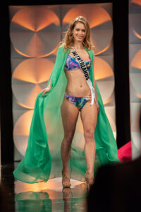 Sharon Pieksma, Miss Netherlands 2019 competes on stage in G. Sonsie Swimwear during the MISS UNIVERSE® Preliminary Competition at the Marriott Marquis in Atlanta on Friday, December 6, 2019. The Miss Universe contestants are touring, filming, rehearsing and preparing to compete for the Miss Universe crown in Atlanta. Tune in to the FOX telecast at 7:00 PM ET on Sunday, December 8, 2019 live from Tyler Perry Studios in Atlanta to see who will become the next Miss Universe. HO/The Miss Universe Organization