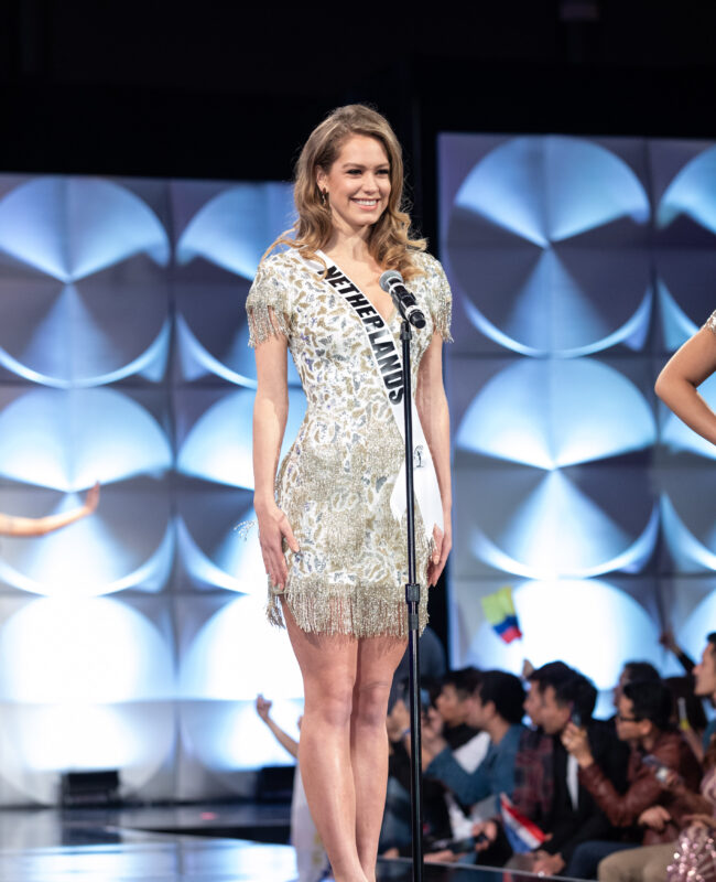 Sharon Pieksma, Miss Netherlands 2019 on stage in fashion by Sherri Hill during the opening of the MISS UNIVERSE® Preliminary Competition at the Marriott Marquis in Atlanta on Friday, December 6, 2019.  The Miss Universe contestants are touring, filming, rehearsing and preparing to compete for the Miss Universe crown in Atlanta. Tune in to the FOX telecast at 7:00 PM ET on Sunday, December 8, 2019 live from Tyler Perry Studios in Atlanta to see who will become the next Miss Universe. HO/The Miss Universe Organization