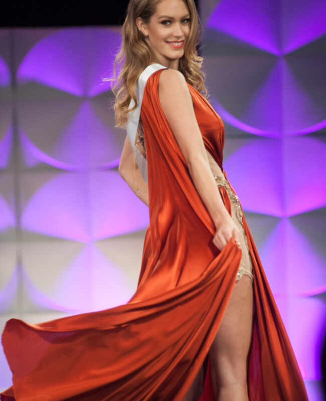 Sharon Pieksma, Miss Netherlands 2019 competes on stage in her evening gown during the MISS UNIVERSE® Preliminary Competition at the Marriott Marquis in Atlanta on Friday, December 6, 2019.  The Miss Universe contestants are touring, filming, rehearsing and preparing to compete for the Miss Universe crown in Atlanta. Tune in to the FOX telecast at 7:00 PM ET on Sunday, December 8, 2019 live from Tyler Perry Studios in Atlanta to see who will become the next Miss Universe. HO/The Miss Universe Organization